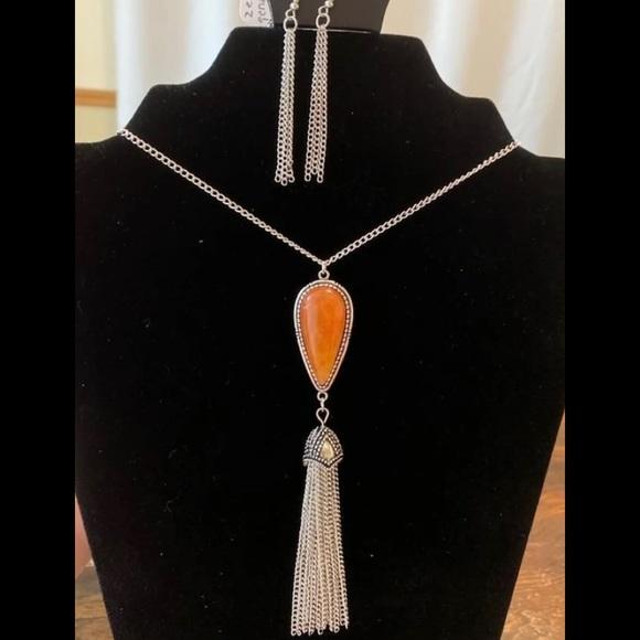 4 for $20 orange tassel necklace set